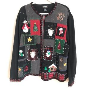 Sweaters - Womens Decorated Knit Button Up Holiday Sweater 2X
